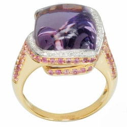 De Buman 18k Gold Amethyst/ Citrine and 1/4ct TDW Diamond Ring (G-H,VS1)