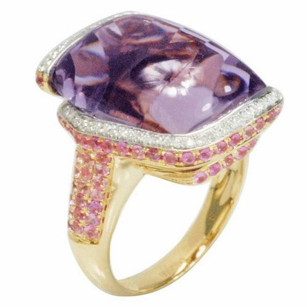 De Buman 18k Gold Amethyst/ Citrine and 1/4ct TDW Diamond Ring (G-H,VS1)