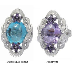 De Buman 18k Gold Amethyst/ Swiss Blue Topaz and 1ct TDW Diamond Ring (G-H, VS1)