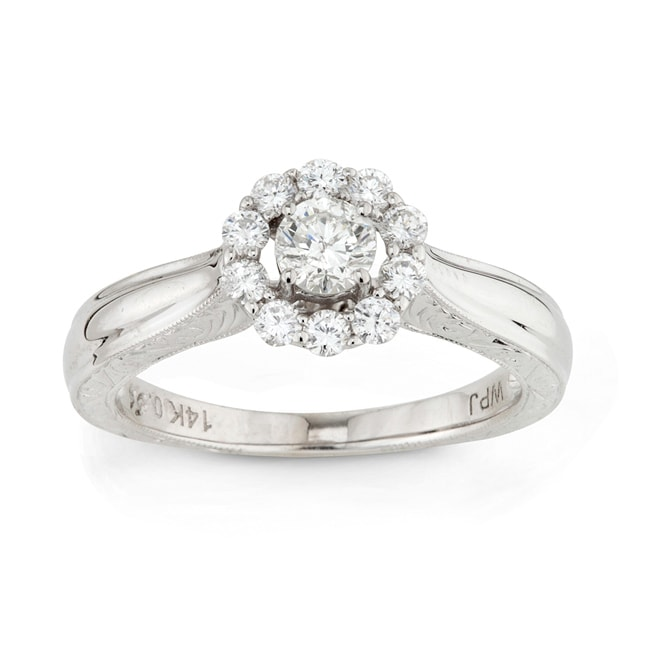 14k White Gold 1/2ct TDW Round Diamond Engagement Ring (H-I, I1-I2)