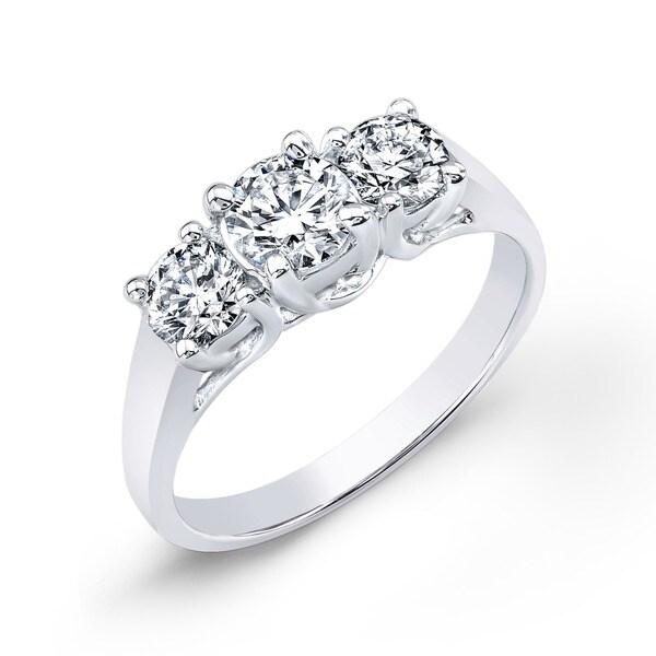 Auriya 14k Gold 1 3/4ct TDW Diamond 3-stone Engagement Ring (J-K, I1-I2)