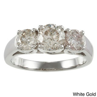 Auriya 14k Gold 2ct TDW Diamond 3-stone Engagement Ring (I-J, I1-I2)
