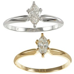 Auriya 14k Gold 2/5ct TDW Marquise Diamond Solitaire Ring (I-J, I1)