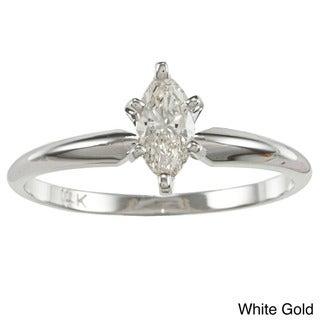 Auriya 14k Gold 2/5ct TDW Marquise Diamond Solitaire Engagement Ring (I-J, I1)