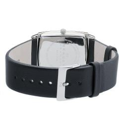 Skagen Men's Black Dial Black Leather Band Watch