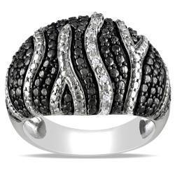 "M by Miadora Black and White Sterling Silver Diamond Accent ""Zebra"" Stripe Ring"