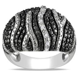 "Miadora Black and White Sterling Silver Diamond Accent ""Zebra"" Stripe Ring"
