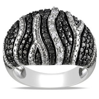 M by Miadora Black and White Sterling Silver Diamond Accent