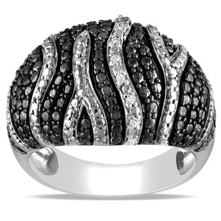 Haylee Jewels Black and White Sterling Silver Diamond Accent