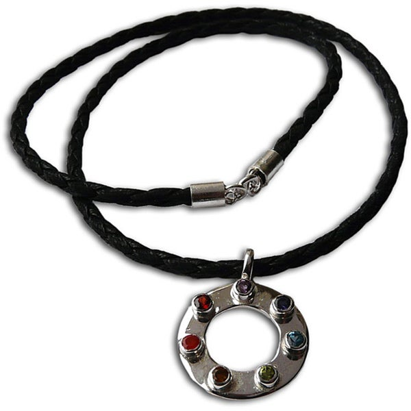 Sterling Silver 7-Chakra Happiness Leather Necklace (India)