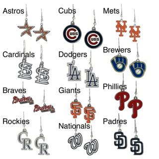 High-Polish Silvertone Major League Baseball Team Dangle Earrings