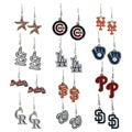 High-Polish Silvertone Major League Baseball Team Dangle Earrings
