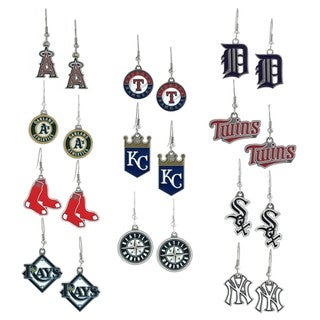 Silvertone Major League Baseball Team Dangle Earrings