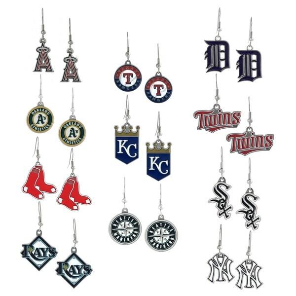 Silvertone Major League Baseball Team Dangle Earrings