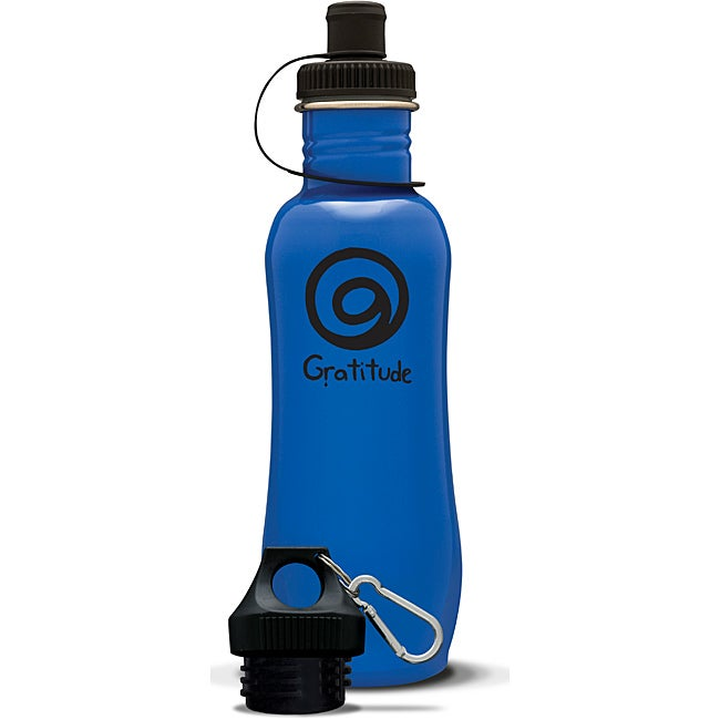 AffirmWater 32-ounce Blue 'I am Gratitude' Stainless Steel Water Bottle