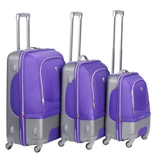 Olympia Majestic Hybrid Plum 3-piece Spinner Luggage Set