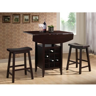 Reynolds Dark Brown Wood 3-Piece Modern Drop-Leaf Pub Set with Wine Rack