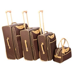 Pierre Cardin Signature Collection Brown 4-piece Luggage Set