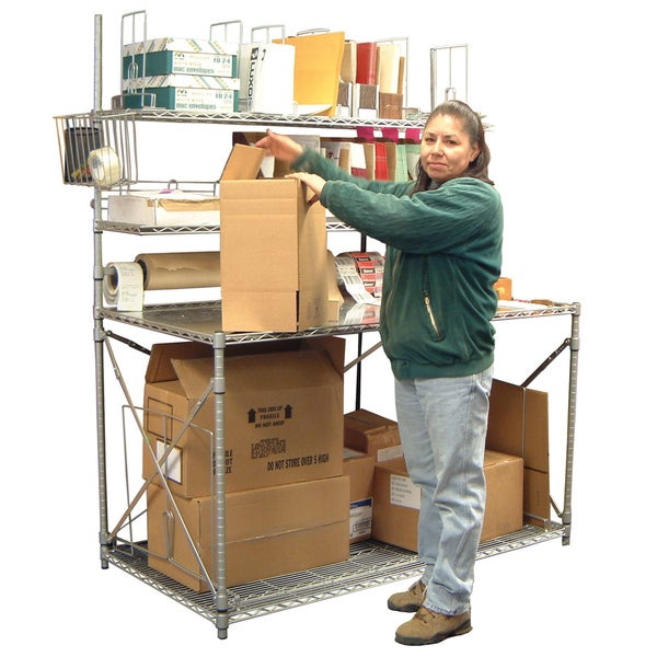 Luxor Galvanized-steel Open Wire Multi-shelf Packing Station