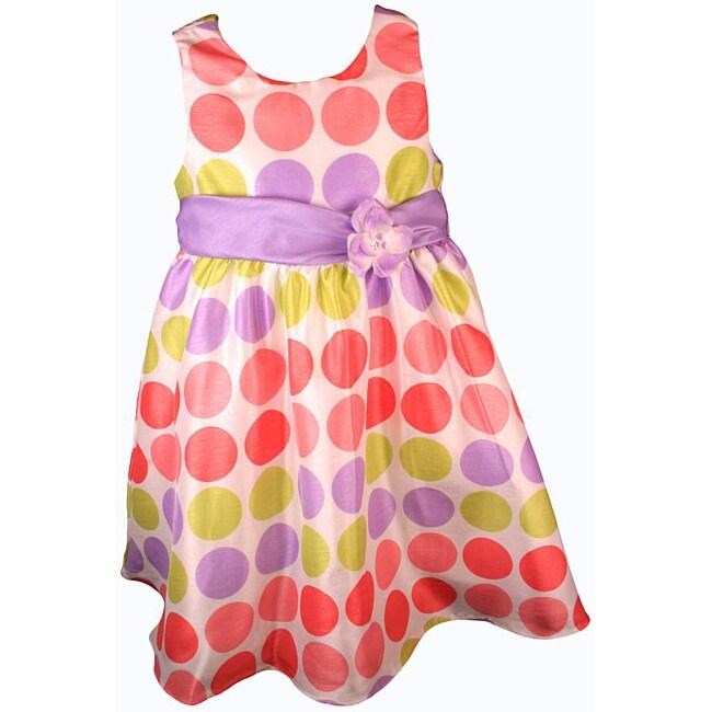 Rare Editions Girl's Multicolor Polka Dot Easter Dress