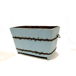 Large Vintage Wooden Square Sink in Aqua