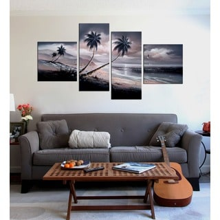 'Beach at Night' Hand Painted Oil on Canvas Art Set