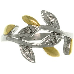 CGC Stainless Steel Two-tone Cubic Zirconia Spiral Leaf Vine Bypass Ring