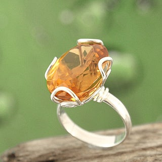 Sterling Silver Citrine Filigree Bali Ring (Indonesia)