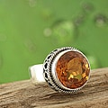 Sterling Silver Citrine Bali Ring (Indonesia)