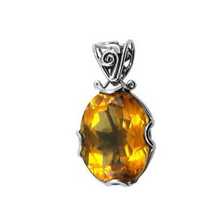 Sterling Silver Citrine Bali Filigree Necklace (Indonesia)