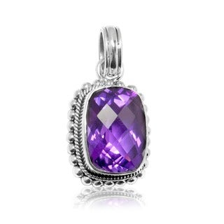 Sterling Silver Amethyst Milligrain Pendant (Indonesia)