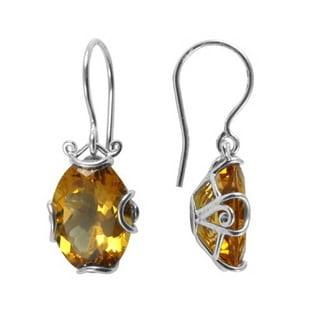 Sterling Silver Citrine Filigree Bali Earrings (Indonesia)
