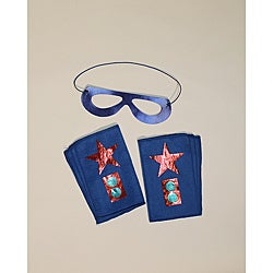Power Capes Blue and Red Star Superhero Mask and Blaster Cuff Set