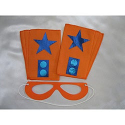 Power Capes Orange with Blue Star Superhero Mask and Blaster Cuffs Set
