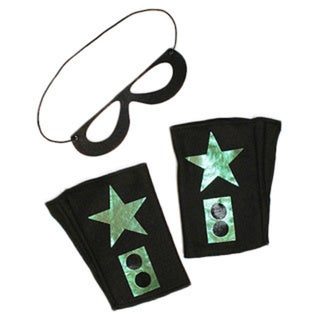 Power Capes Black with Lime Star Superhero Mask and Blaster Cuffs Set