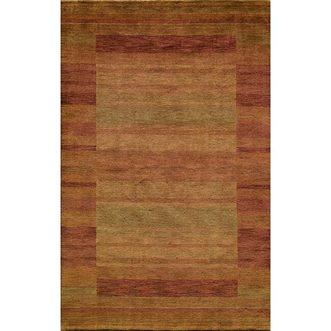 Loft Rust Gabbeh Border Hand-Loomed Wool Rug (5' x 8')