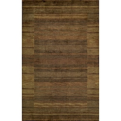 Hand-loomed Loft Brown Gabbeh Border Wool Rug (5' x 8')