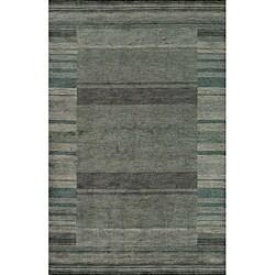 Hand-loomed Loft Blue Gabbeh Border Wool Rug (5' x 8')