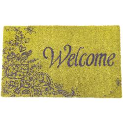 Purple Welcome Non-slip Coconut Fiber Doormat