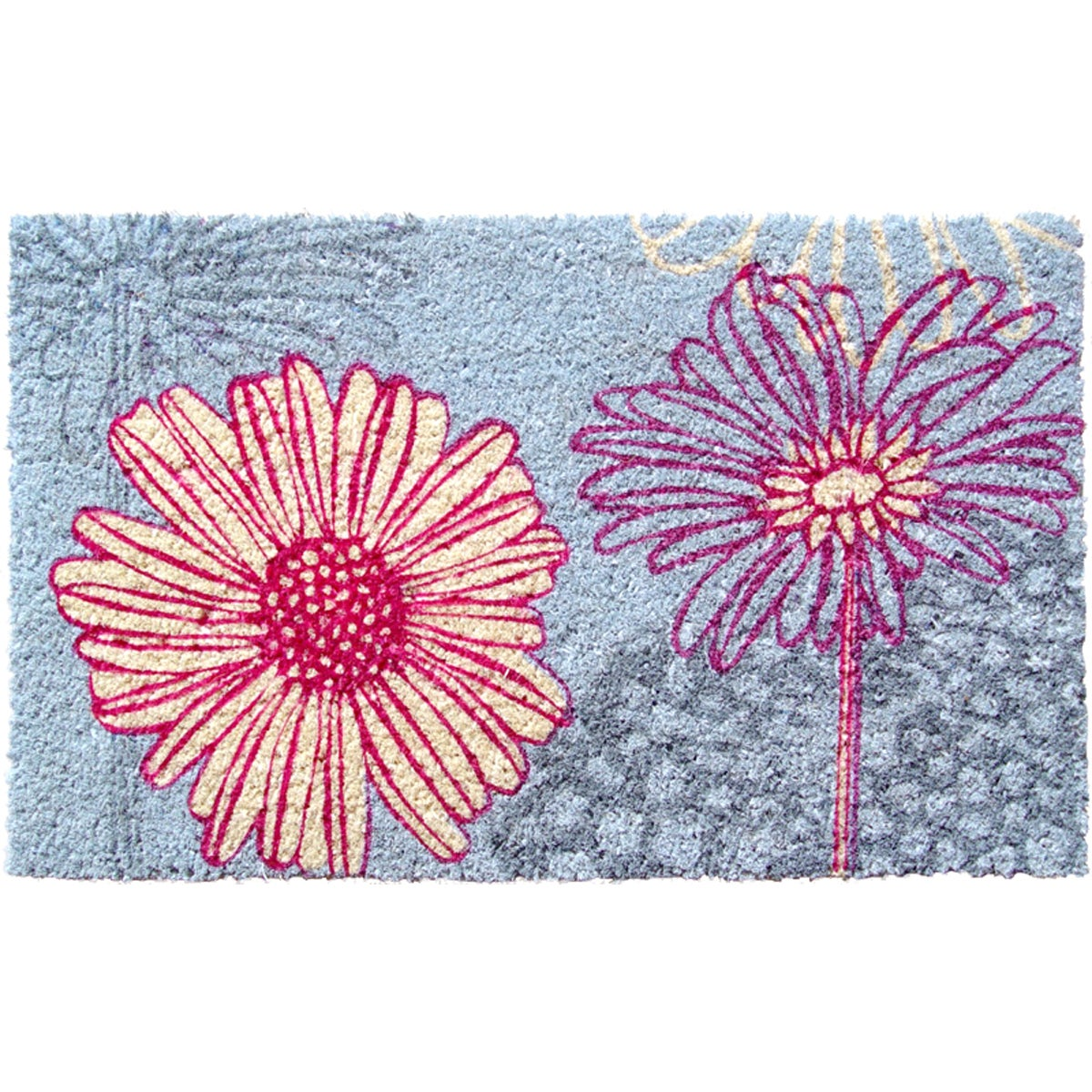 Daisy Drawing Non-slip Coconut Fiber Doormat