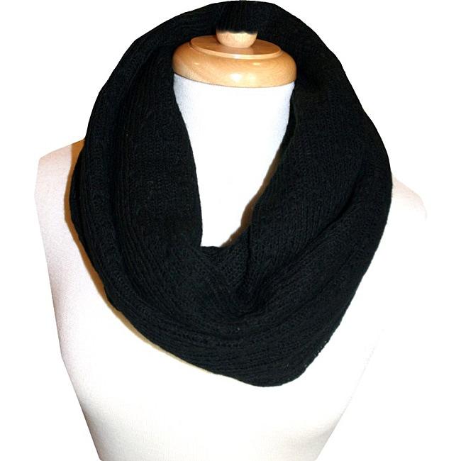Sweater Knit Black Infinity Scarf