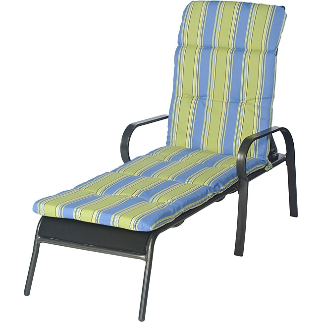 Ali patio outdoor tufted blue stripe chaise lounge cushion for Blue and white striped chaise lounge cushions
