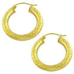 Fremada 10k Yellow Gold Diamond-cut Tube Hoop Earrings