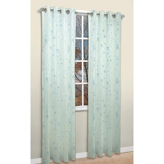 Shadows Blue Jacquard 84-inch Curtain Panel Pair