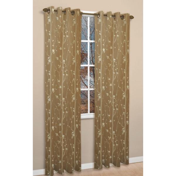 Shadows Gold Jacquard 84-inch Curtain Panel Pair