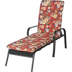 Ali Patio Polyester Crimson Red Floral Tufted Hi-back Outdoor Chaise Lounge Cushion