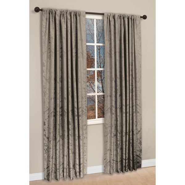 Taupe Polyester 84-inch Damask Napoli Curtain Panel Pair
