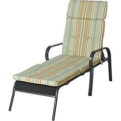 Ali Patio Polyester Steel Blue Stripe Tufted Hi-back Outdoor Chaise Lounge Cushion