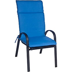 Ali Patio Polyester Blue Solid Smooth Edge Hi-back Outdoor Arm Chair Cushion