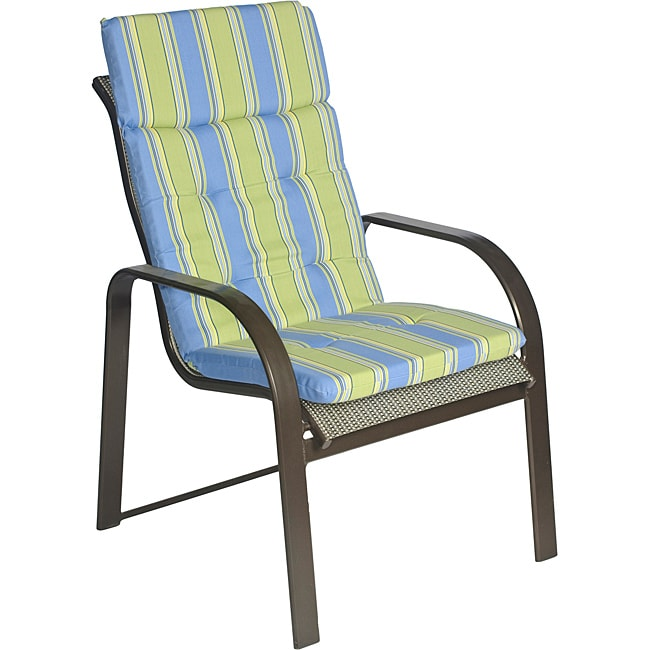 Ali Patio Polyester Blue Stripe Tufted Hi back Outdoor Arm